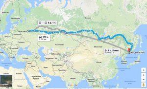 Москва Владивосток расстояние